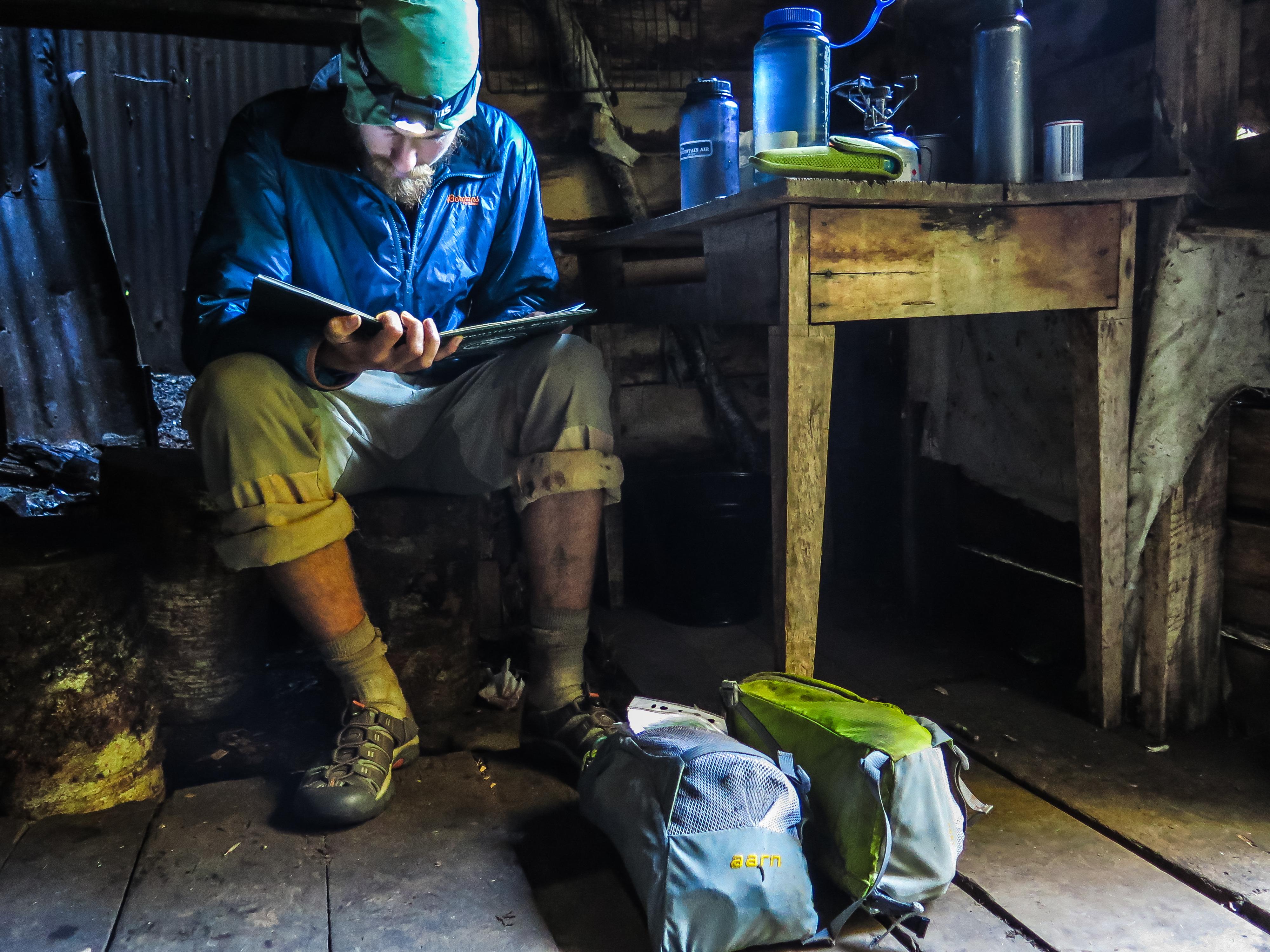 Te Araroa overnachten in een hut