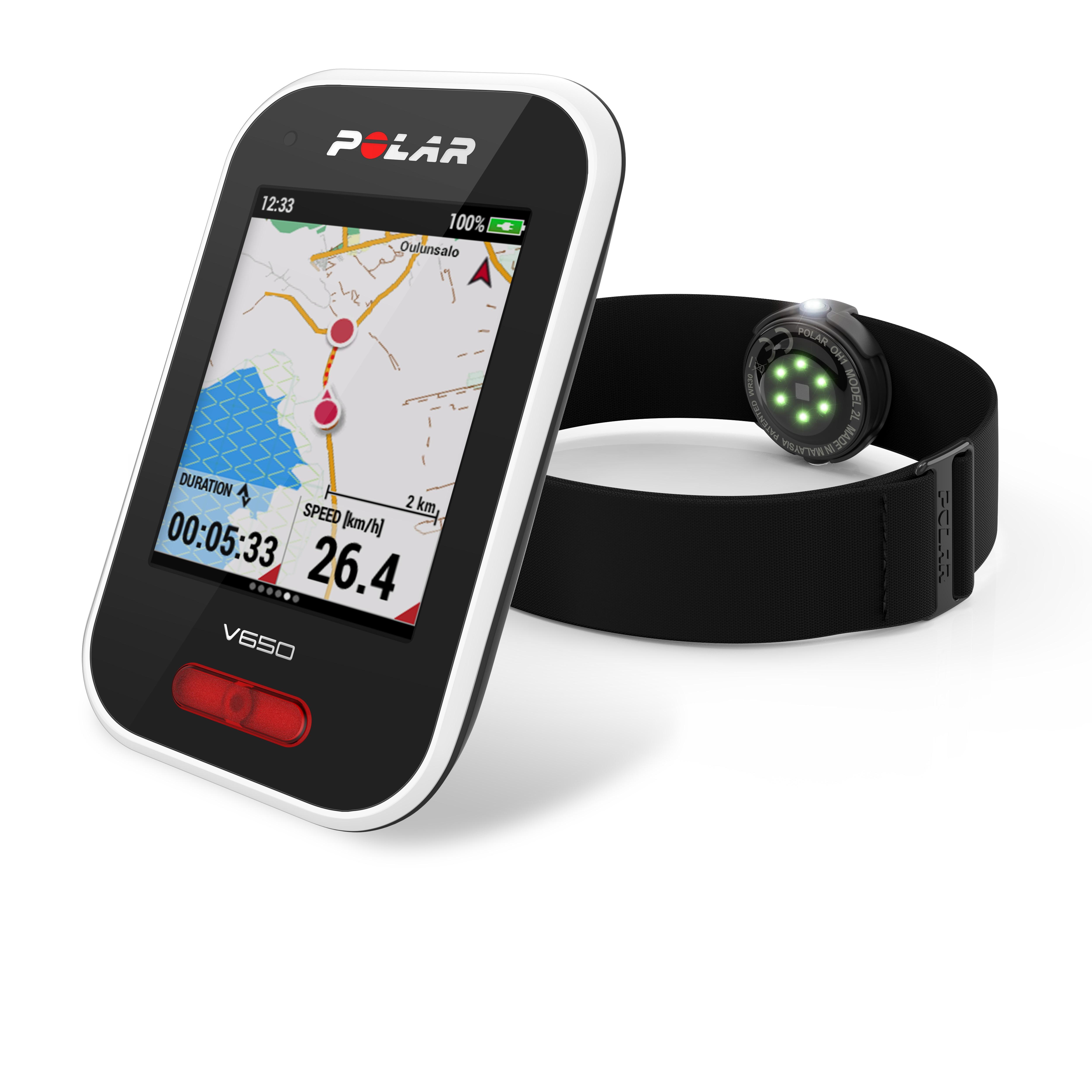 Polar V650 GPS-fietscomputer met OH1 Sensor